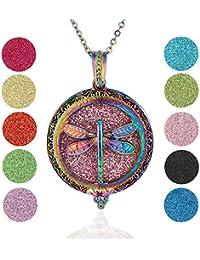 f28db853ebbc Soleebee Collar Difusor de Aceite Esencial Aromaterapia Collar de Acero  Inoxidable Locket Collar Colgante 60cm Collar