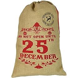 Medias de navidad, un saco de arpillera de regalos - 'No abrir Hasta el 25 de diciembre'