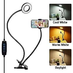SOAIY LED Lumière Anneau, Selfie Ring Light avec Support de Télephone, 3 Modes d'éclairage/10 Niveaux de Luminosité, Lampe de Bureau Pince pour Éclairage Photo/Vidéo/Portrait/Maquillage/Youtube/Vlog