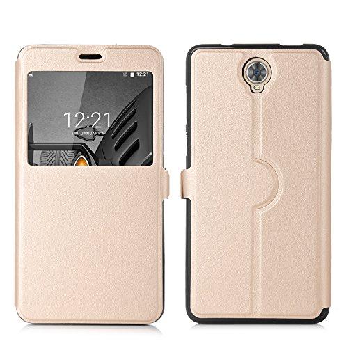 ELTD CUBOT MAX Case, Fenster Ansicht Flip Cover Case / Hülle / Tasche/ Schutzhülle Für CUBOT MAX, Gold