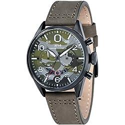 AVI-8 AV-4031-08 - Reloj cronógrafo de cuarzo de movimiento retrógrado para hombre con esfera de camuflaje multicolor y correa de cuero verde
