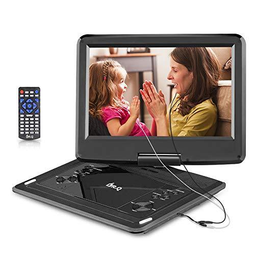 DR.Q 12,1-Zoll Tragbarer DVD-Player mit 6000mAh wiederaufladbare Batterie, 270-Grad HD Schwenkbildschirm, Fernbedienung, 5.9ft Auto-Ladegerät, SD-Kartensteckplatz, USB-Anschluss und mehreren unterstützten Disc-Formaten - Schwarz