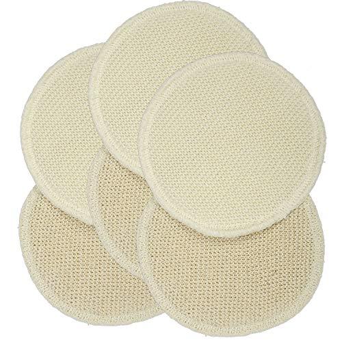 3 Paar Stilleinlagen Wolle Seide gestrickt 3-lagig rund 13cm, Extra-Qualität - Schurwolle und Bouretteseide - mit pflegende Eigenschaften - ideal bei gereizten Brustwarzen - waschbar