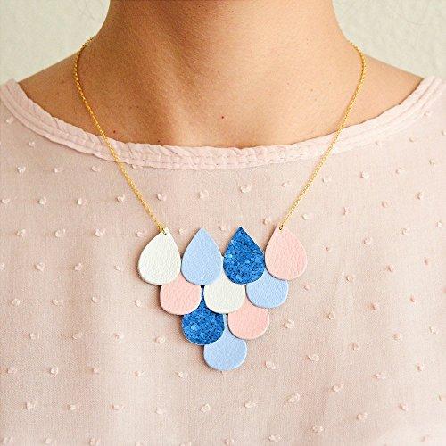 collar-de-cuero-colores-pastel-rosa-cuarzo-ptalos-collar-cuero-collar-lgrimas