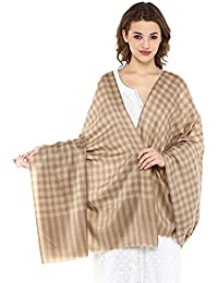 Pashtush Ultra Soft Womens Wool Shawl Check Design, Natural Faux Pashmina Shawl (comfortable big size)