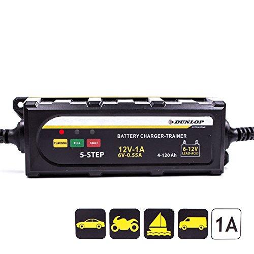 Dunlop Batterieladegerät 6/12 Volt für Blei-Säure und Gel Batterien für Auto, Motorrad und Wohnmobil