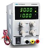 SKYTOPPOWER Fuente de alimentación Regulable DC 0~30V 0~10A 4 LED Ajustable Transformador, para Laboratorio, reparación General Precisión EU Plug