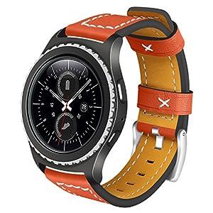 Gear S2 Classic/Gear Sport Lederarmband AISPORTS 20 mm Leder Smart Watch Band Ersatzarmband Armband für Samsung Gear S2 Classic R732 / R735 / Gear Sport R600 / Moto 360 2. Generation 42 mm Orange