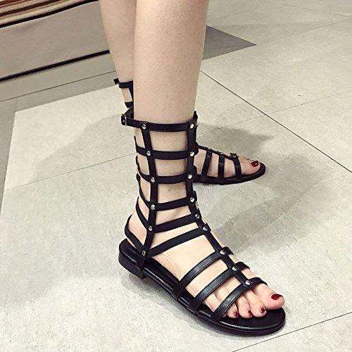 YMFIE Fashion Studded Flat Heel Sandaletten Frauen Sexy Comfort Flachen Sandalen, 35 EU, Schwarz -