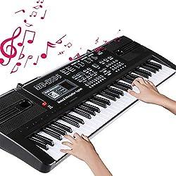 RenFox Clavier Piano 61 Touches Clavier Portable avec Enceintes Intégrées, Micro, Keyboard Piano pour Garçon Filles Cadeau