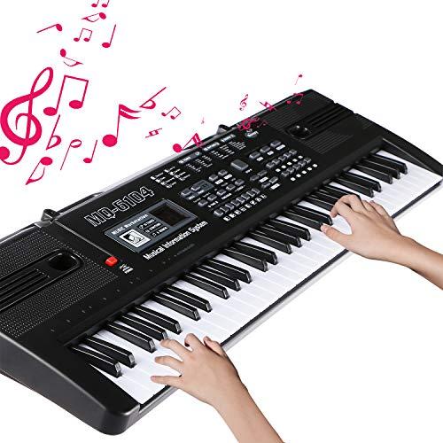Teclado Electrónico Piano 61 Teclas, Keyboard Piano Portátil USB Piano Digital Con Micrófono, Musical Digital Piano, Basico Teclado de Piano Para Niños/Principiante/Adultos/Beginners (negro)