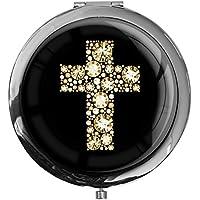 """Preisvergleich für metALUm - Extragroße Pillendose in runder Form""""Kreuz in Gold"""""""