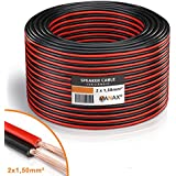 Manax SC2150RB-10 Lautpsrecherkabel 2x1,50 mm² CCA (Boxenkabel/Audiokabel), Ring 10 m, rot/schwarz