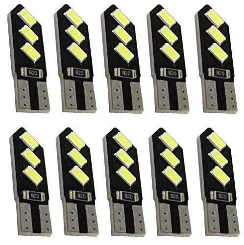 AERZETIX: 10x ampoule T10 W5W 12V 6LED SMD blanc effet xénon veilleuses éclairage intérieur seuils de porte plafonnier pieds lecteur de carte coffre compartiment moteur plaque d'immatriculation C41080