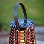 Lights4fun Set of 2 Rattan Solar Powered LED Outdoor Garden Lanterns 10