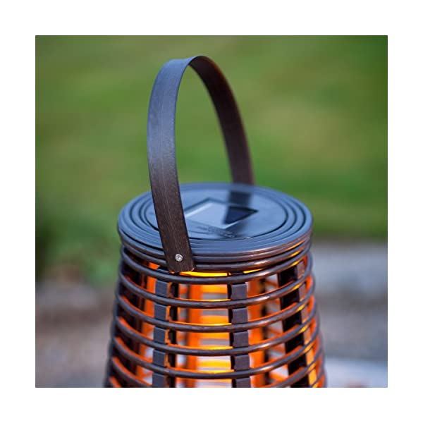 Lights4fun Set of 2 Rattan Solar Powered LED Outdoor Garden Lanterns 5