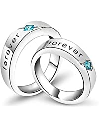 Anvi Jewellers Splendiferous Platinum Plated Couple Ring for Men & Women