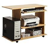kompakter Schreibtisch auf Rollen in kernbuche - Möbeldesign Team 2000 - 1085