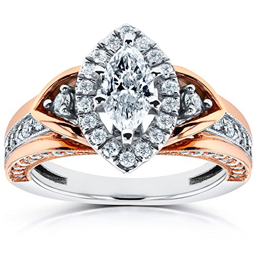 Anello di fidanzamento taglio Marquise, 14 in 1 CTW K Two-tone Gold, Oro rosa-e-bianco, 8, cod. 62069M-E_4.5