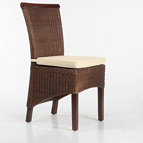 SIX Larissa Stuhlkissen Sitzpolster Sitzkissen 100{0248ede7a057af7a87ad8c4f297f1c178f47b0d8272b1eb74c66eafb9c1dfd4e} Baumwolle Creme 2X Bindebänder