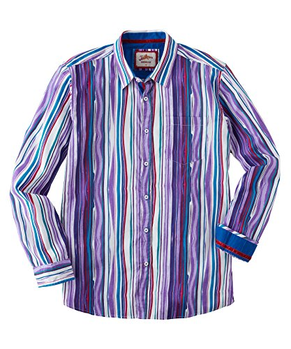 Joe Browns Herren Langärmliges Hemd mit gemalten Streifen Violett M (Gemalt Herren Streifen)