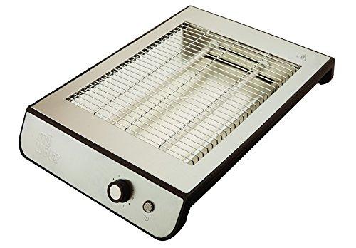 MyWave Palma - Tostador Plano Horizontal 600 W, ideal para pan o todo tipo de bollería, con bandeja recogemigas, Acero Inoxidable - Gris