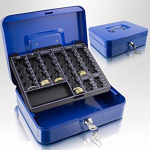 Geldkassette 25 cm groß abschließbar Münz Geld Zählbrett Kasse Safe Blau 250mm x 200mm x 70mm (B/T/H)