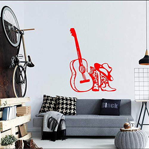 lyclff Musikgitarre Mit Hut Stiefel Vinyl Wandtattoos Home Special Fashion Style Dekoration Wandbild Aufkleber Akustische Decals ~ 1 31X42 cm