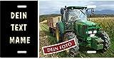 Holashirts Mallorca Traktor-Schild selbst Gestalten mit eigenem Tractor-Foto, Wunschtext, Blechschild Metallschild Stallschild Türschild Schlepper Trecker für innen und außen, 305x152mm