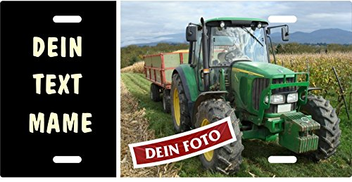 Traktor-Schild selbst gestalten mit eigenem Tractor-Foto, Wunschtext, Blechschild Metallschild Stallschild Türschild Schlepper Trecker für innen und außen, 305x152mm