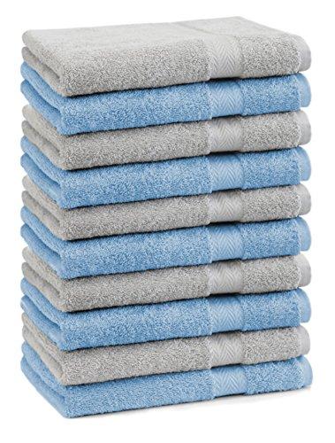 Betz Lot de 10 serviettes débarbouillettes lavettes taille 30x30 cm en 100% coton Premium couleur bleu clair et gris argenté