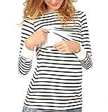 Swallowuk Mutterschaft Umstandsshirt Damen Lange Ärmel Stillshirt Umstandsmode Streifen Doppelschicht Pflege Schwanger T-Shirt Stillen Umstandstop Maternity Rundhals Stilltop (M)
