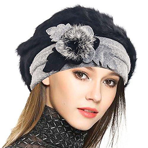 VECRY Damen Wolle Barette Angola Kleid Beanie Schädel Mützen Stricken Winter Hüte (Schwarz) -