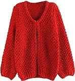 BININBOX® Neu Damen Strickjacke mit Fledermaus Ärmel Mohair Strick Mantel Freizeit Pullover ohne Knopf für Herbst/Frühjahr in 4 Farben (Rot)