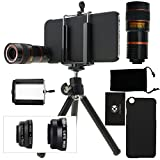 iPhone 6 / 6S Kamera-Objektiv-Set mit einem 8x Teleobjektiv / Fisheye Objektiv / 2 in 1 Makroobjektiv und Weitwinkel-Objektiv - MV (iPhone 6 / 6S, Schwarz)