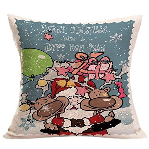 (OdeJoy WeihnachtenSofa Bett Zuhause Dekor Kissen Fall Kissen Abdeckung Square KissenFall Weihnachtsmann Weihnachtsbaum Muster Pillow LeinenKissen Drucken Kissenbezug (SchwarzB,1 PC))