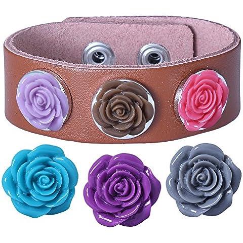 Soleebee PU pulseras de cuero marrón de experiencia 6 Rose aleatoria diamantes de imitación Snap mezclaron los botones