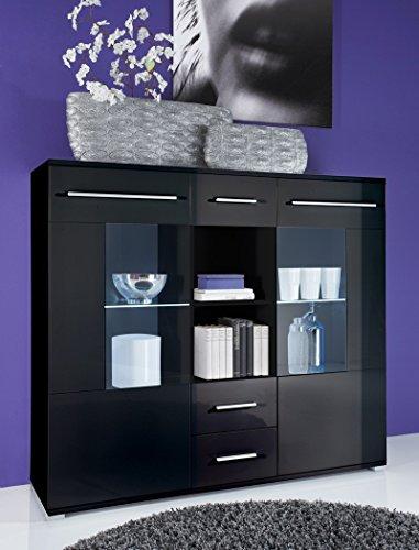 Highboard Spiros 137x121x40 cm schwarz Hochglanz LED-Beleuchtung Glaskantenbeleuchtung Wohnzimmerschrank Sideboard Hochschrank