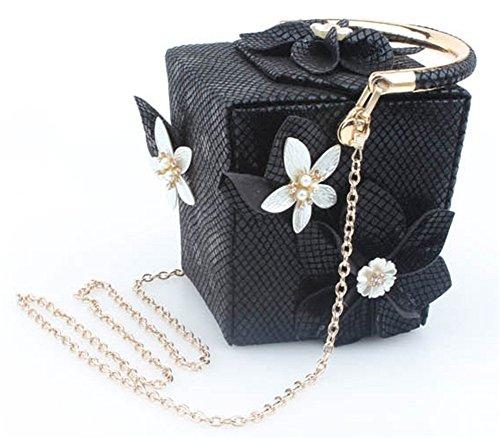 Good Night Borsa a tracolla Donna Fiore Nuovo stile plaid scatola di sera della borsa con maniglia superiore Nero