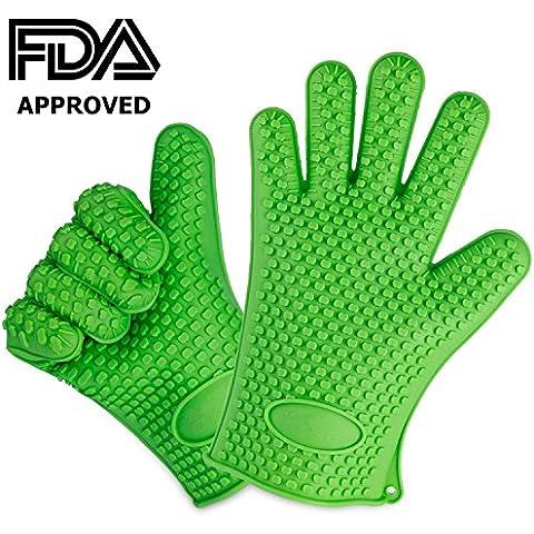 Silicona barbacoa guantes mejor marca resistente al calor Guantes de cocina y parrilla Protege tus manos y evitar accidentes (impermeable, aislante de cinco Fingered Grip
