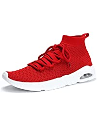 Hombres Mid Sneakers Mesh Lace Up Gym Shoes Pure Color Transpirable Comforty Outdoor Sport Shoes EU Tamaño 39-46 (Color : Rojo, Tamaño : 44EU)
