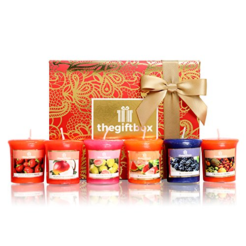 Set of Six Scented Candles From The Gift Box Featuring Fruity Fragrances and Packed in a Luxury Gift Box. Perfect Birthday Gift, Christmas Gift and Gift for Women. (Sparklering)