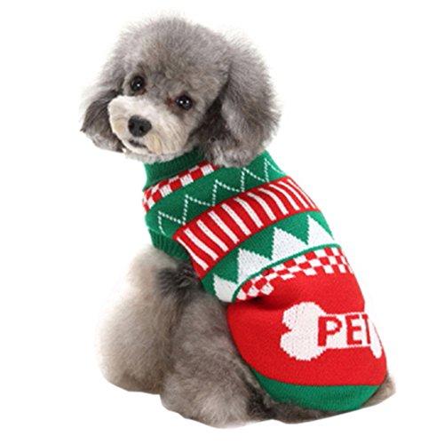 Dog Kostüm E Walk (Haustier Christmas Warme Pullover, Feicuan Kleine Hundchen Pattern Knitted Jumper Kleidung Outwears Puppy Dress Up Mantel)