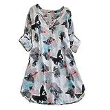 QUINTRA Womens Full Sleeve Schmetterlings-Druck-beiläufige Strand-Kleider