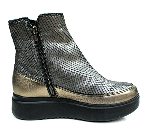 D'Acquasparta Bottes Femme Ginevra Sneaker 2 Fermeture eclair Cuir Platino / gris Platino / Grigio