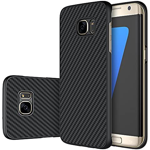 Meimeiwu Carcasa Fibra de Carbono Ultra Delgada y Ligéra Cover Funda Case para Samsung Galaxy S7 Edge Negro