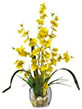 Nearly Natural 1119-YL Dancing Lady Orchid Liquid Illusion Silk Flower Arrangement, Yellow by Nearly Natural