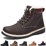 SIXSPACE Herren Winterstiefel Warm Gefütterte Winterschuhe Outdoor Schneestiefel Winter Boots (Dunkelbraun 46 EU)