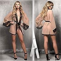 Ronshin Sleepwear Women Sexy Elegant Lace Deep V Night-robe Lingerie Set skin color S