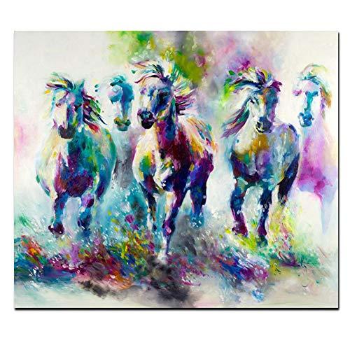 ERQINGYH Malerei Und Kalligraphie Katy Perry Stil Aquarell Pferd Laufen Leinwand Gemälde Auf Leinwand Pop Art Tier Wandbild Für Wohnzimmer